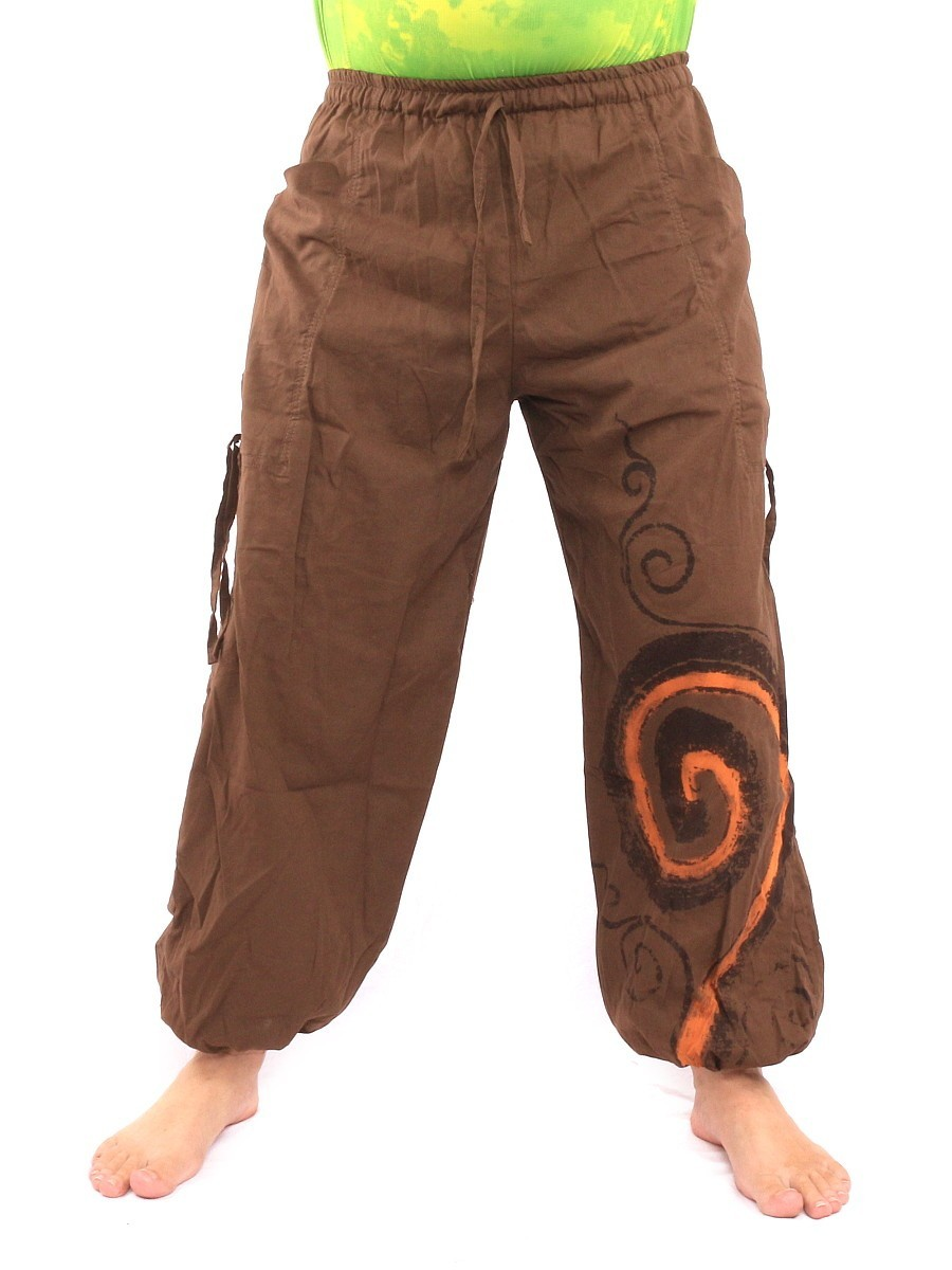Harem Balloon Pants Spiral Design One Size Brown