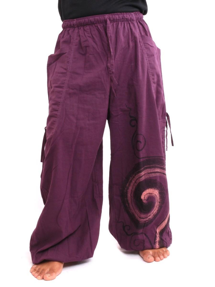 Harem Balloon Pants Spiral Design One Size Purple