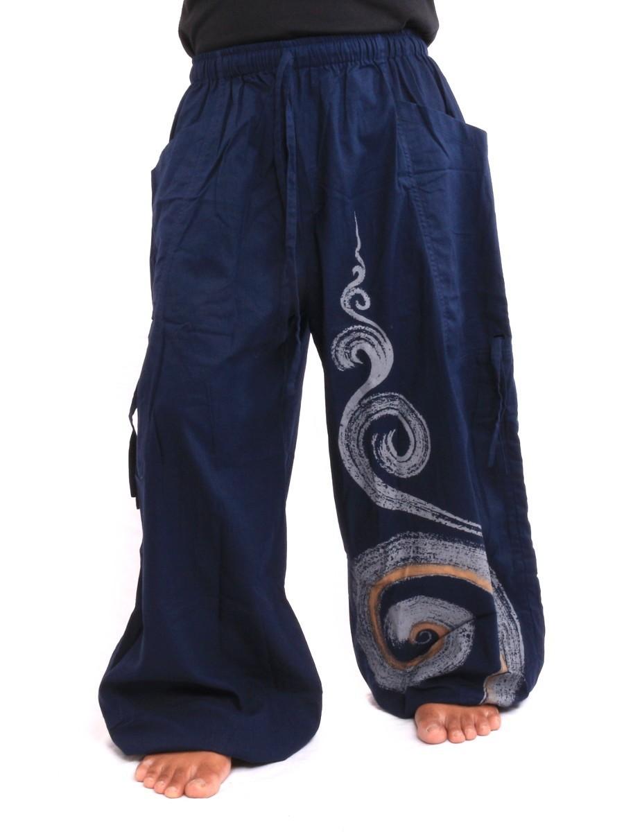 Harem Balloon Pants Spiral Design One Size Blue