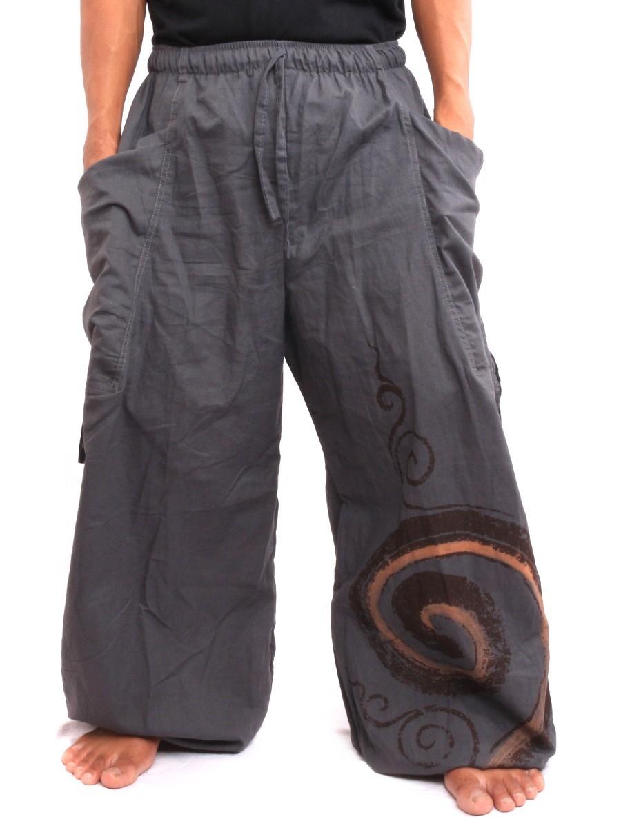 Harem Balloon Pants Spiral Design One Size Grey
