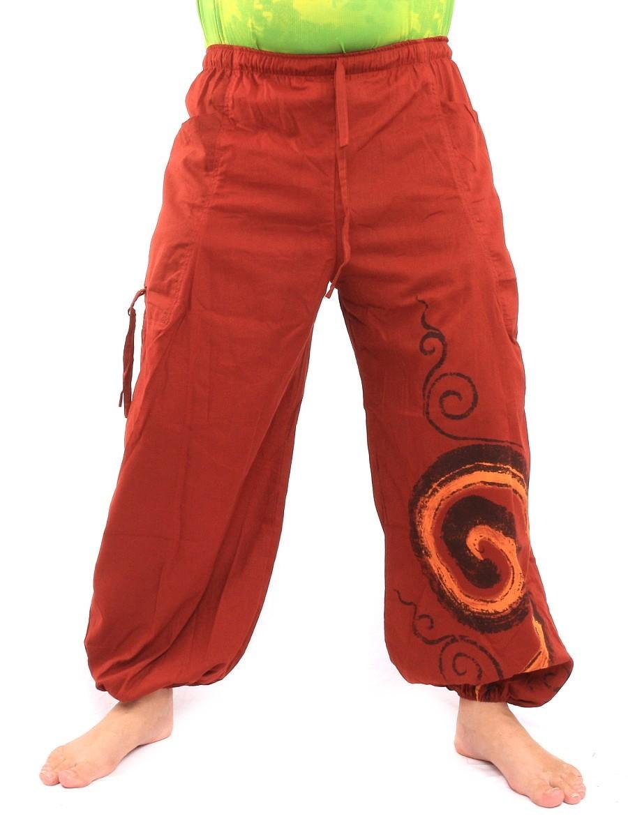 Harem Balloon Pants Spiral Design One Size Orange