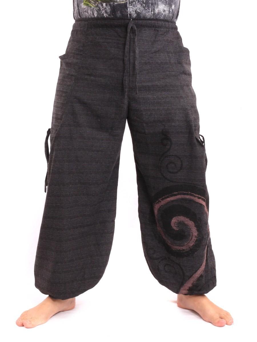 Harem Balloon Pants Spiral Design Mix One Size Black