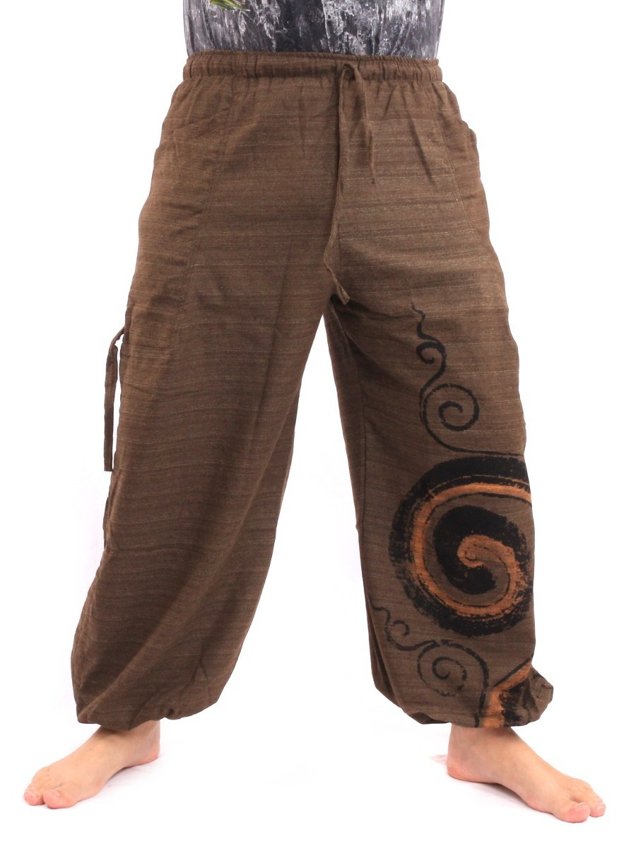 Harem Balloon Pants Spiral Design Mix One Size Brown