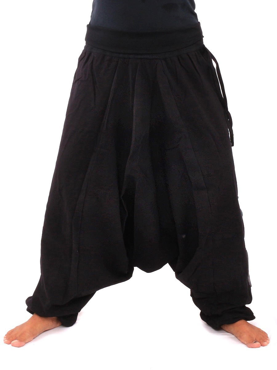 Harem Pants Aladdin Cut With Fabric Applications One Size Black