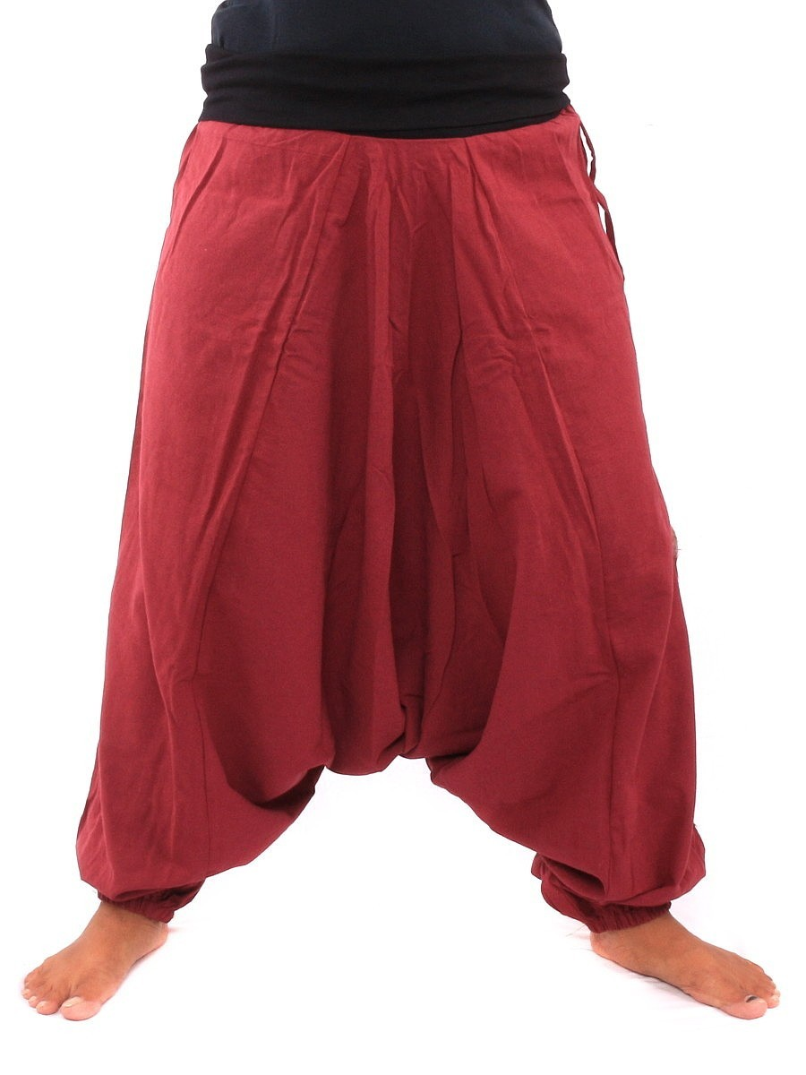 Harem Pants Aladdin Cut With Fabric Applications One Size Red