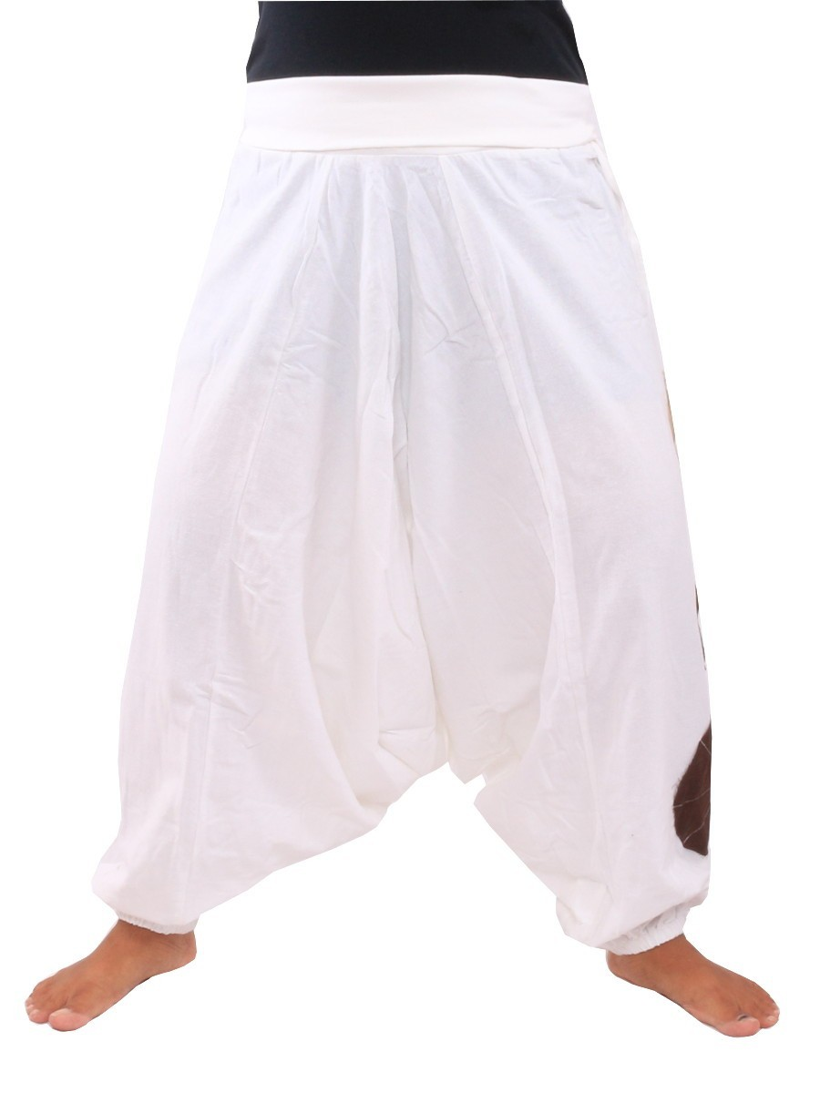 Harem Pants Aladdin Cut With Fabric Applications One Size White