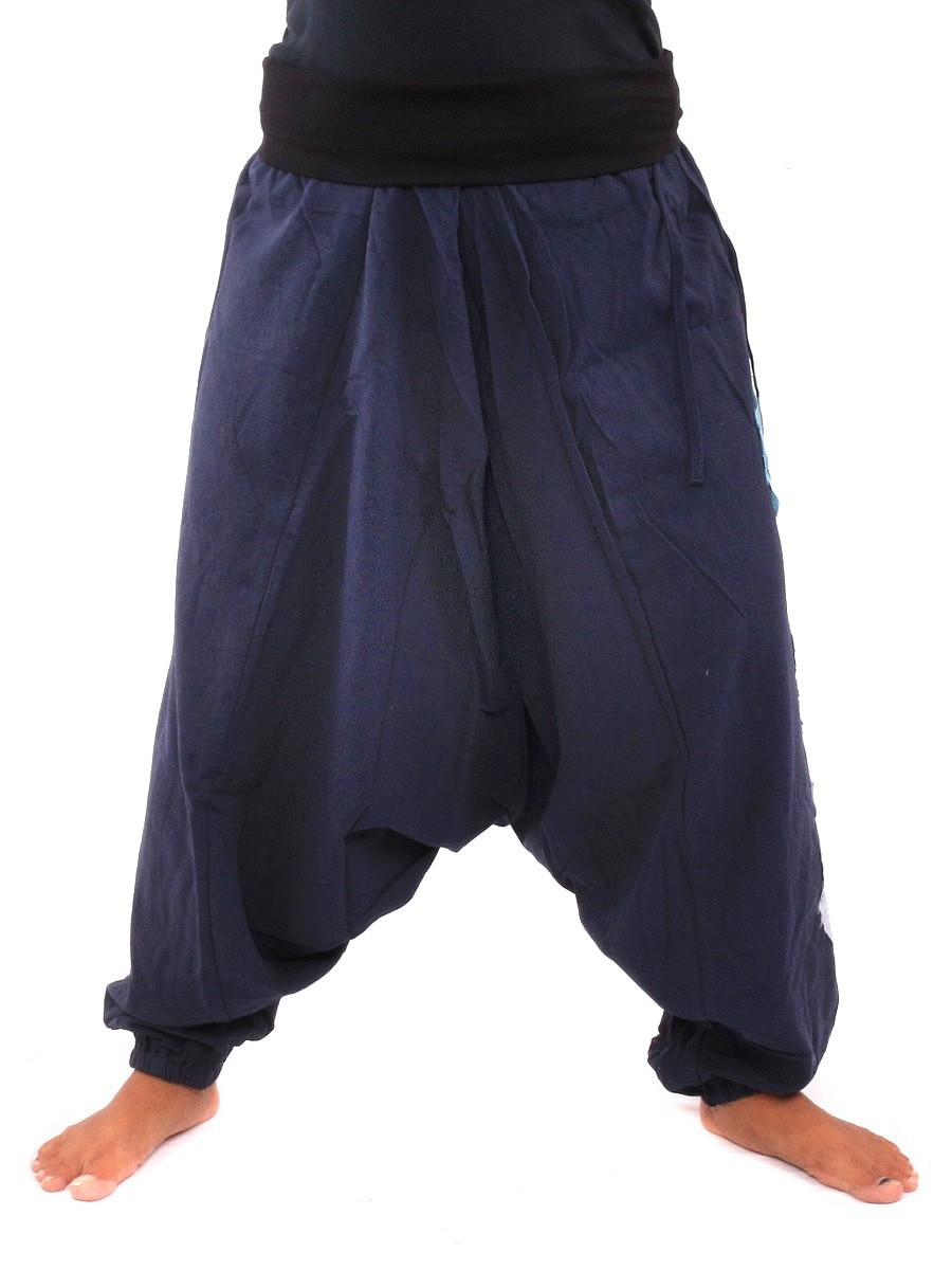 Harem Pants Aladdin Cut With Fabric Applications One Size Blue