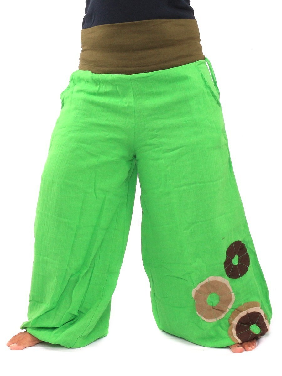 Palazzo Harem Pants High Cut With Fabric Applications One Size Green