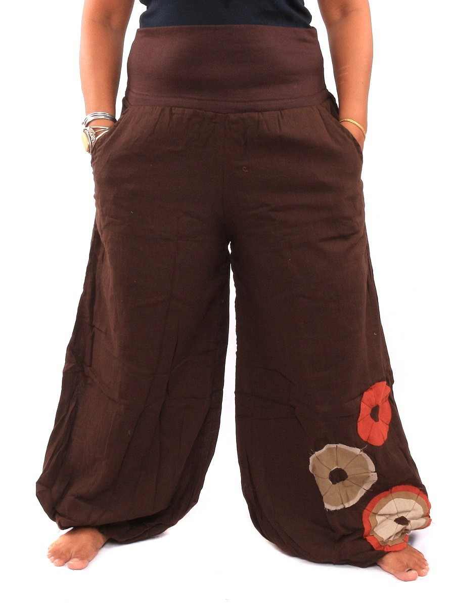 Palazzo Harem Pants High Cut With Fabric Applications One Size Brown