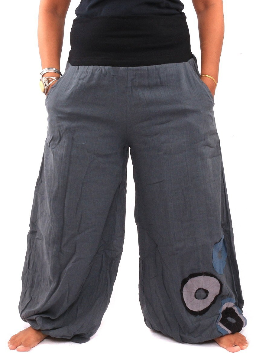 Palazzo Harem Pants High Cut With Fabric Applications One Size Grey