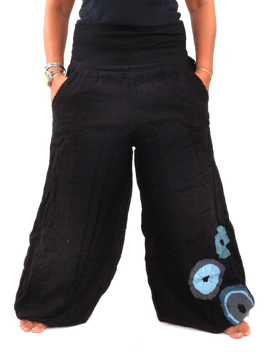 Palazzo Harem Pants High Cut With Fabric Applications One Size Black