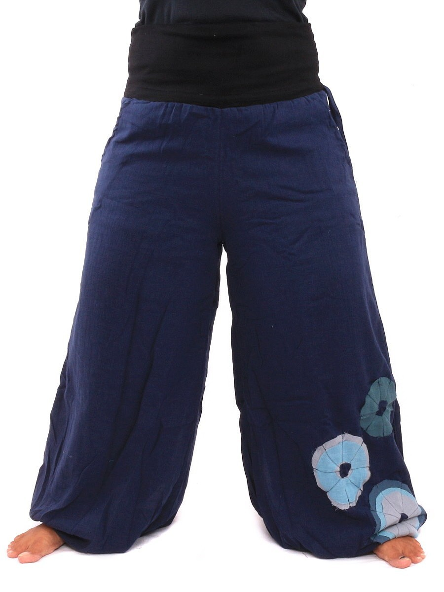 Palazzo Harem Pants High Cut With Fabric Applications One Size Blue
