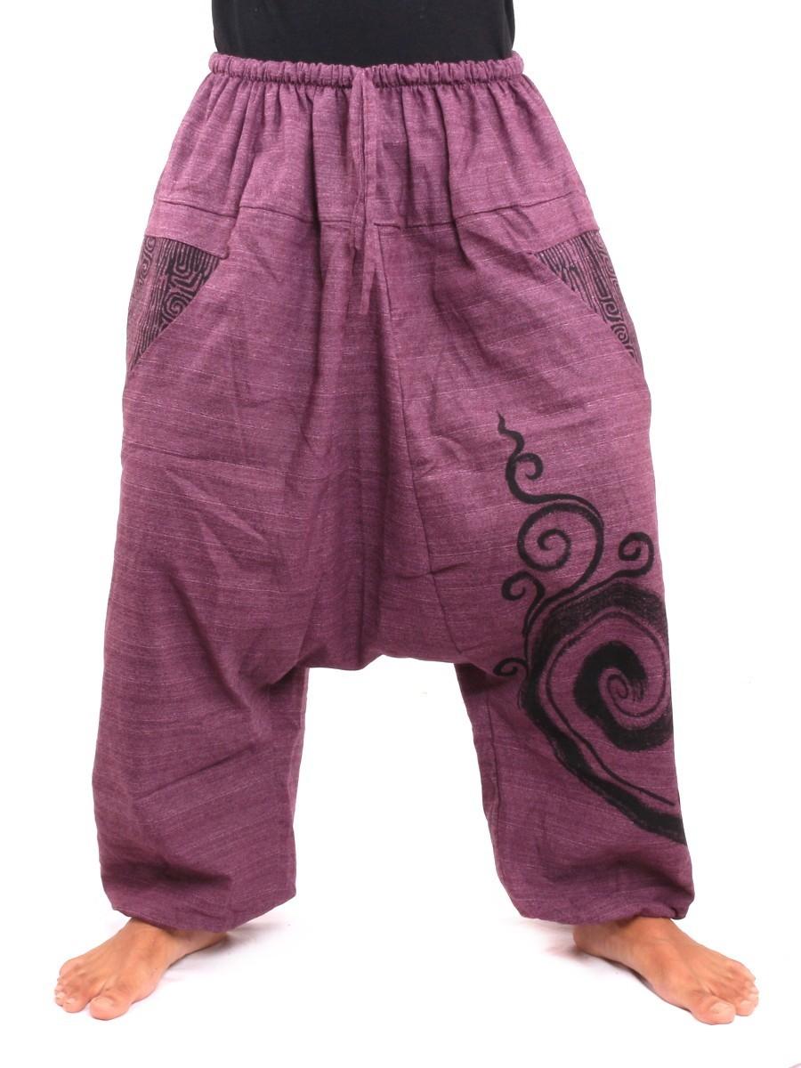 Aladdin Genie Pants Floral Ethnic Print One Size Purple