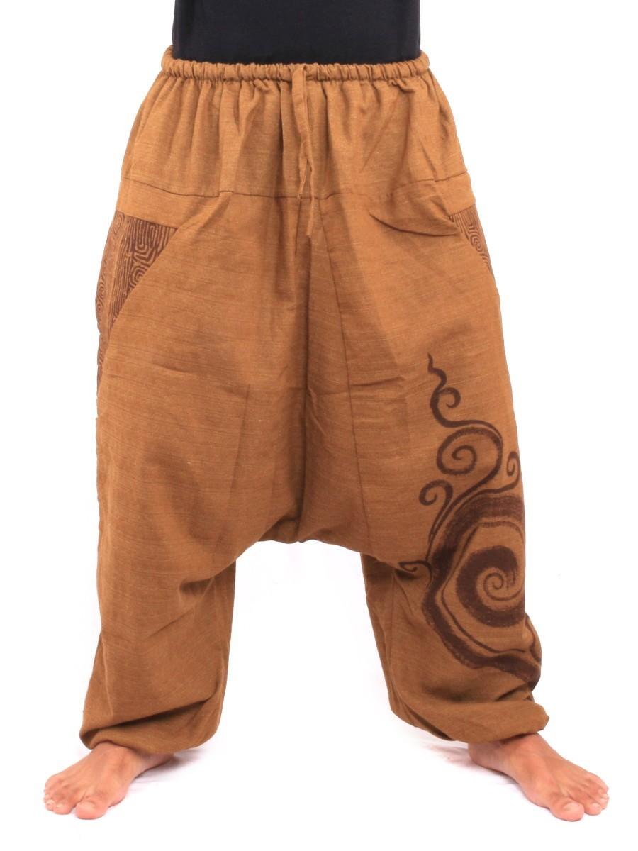 Aladdin Genie Pants Floral Ethnic Print One Size Beige