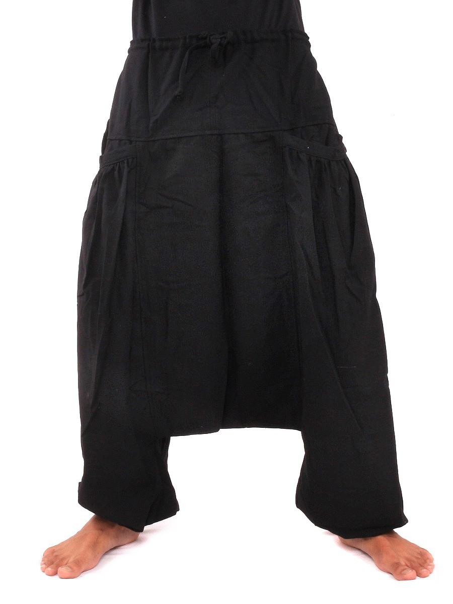 Low Cut Baggy Harem Pants With Two Side Pockets One Size Black
