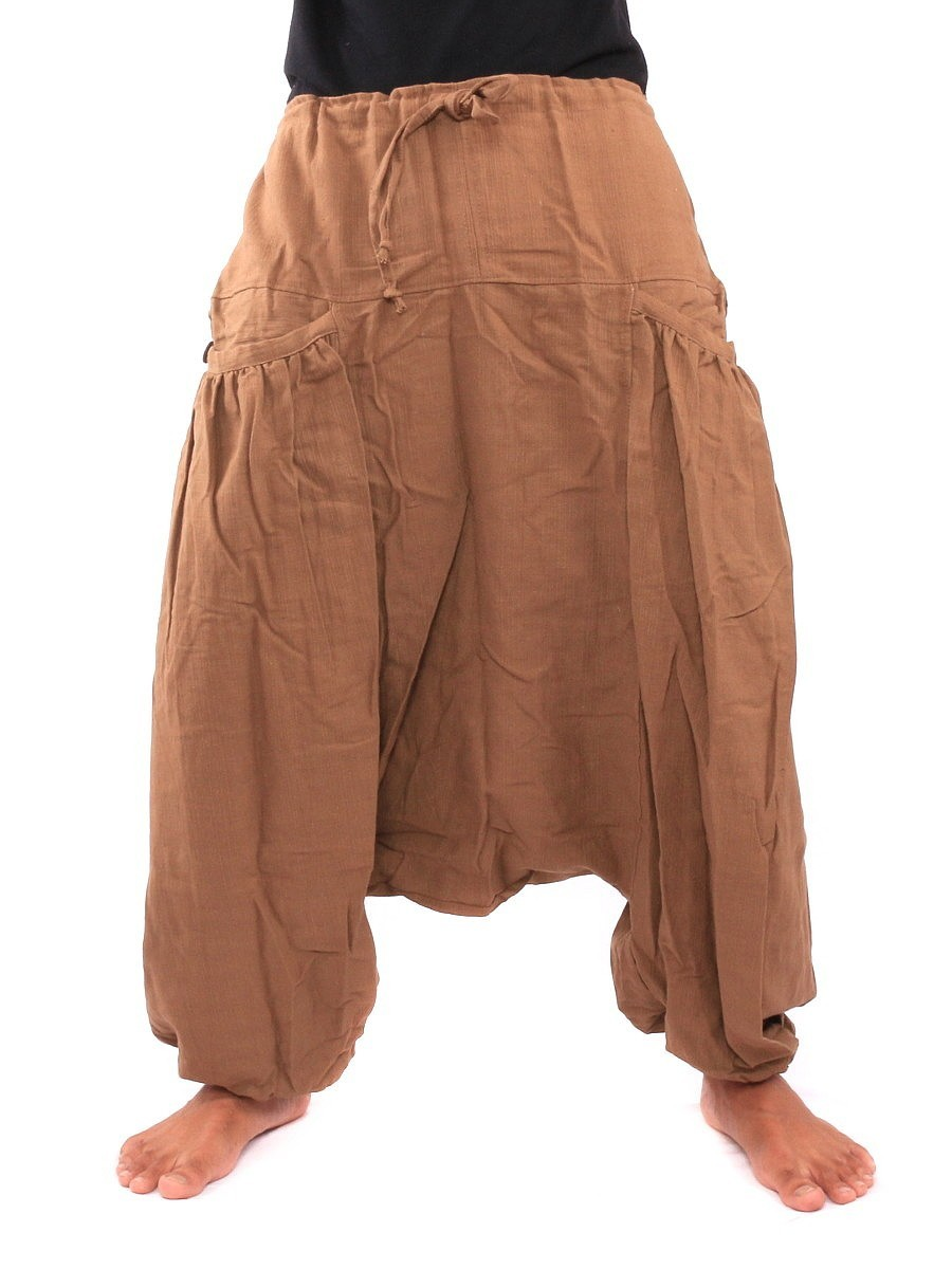 Low Cut Baggy Harem Pants With Two Side Pockets One Size Brown
