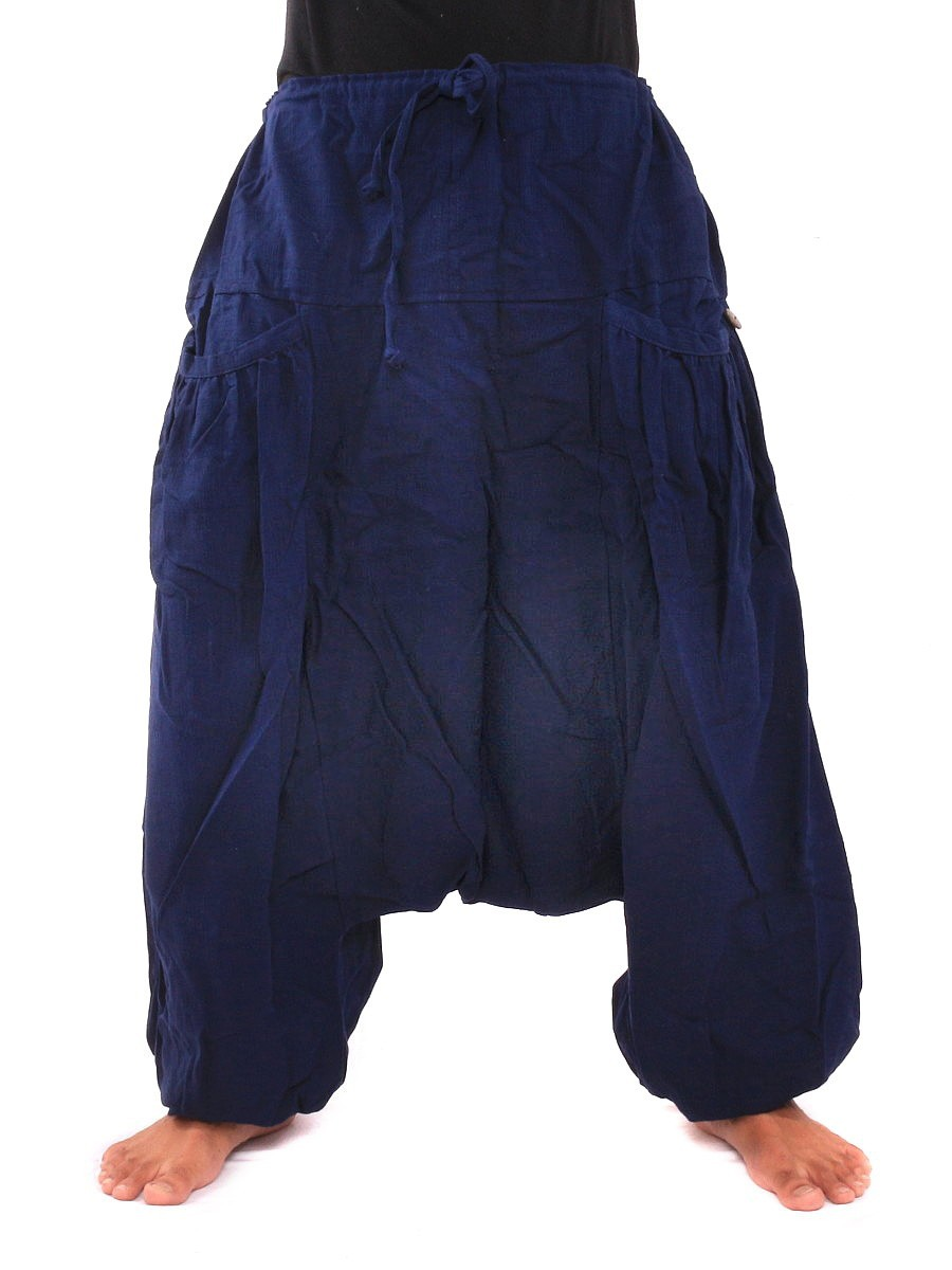 Low Cut Baggy Harem Pants With Two Side Pockets One Size Blue
