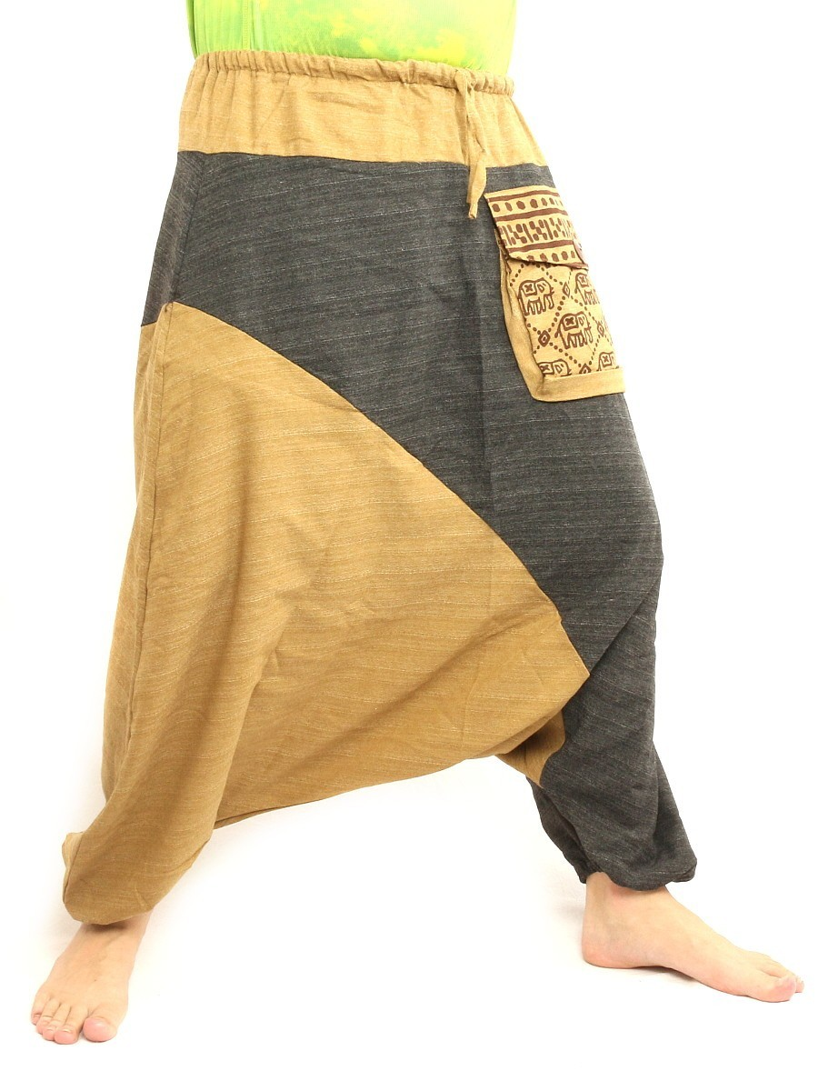 Baggy Harem Pants Two Tone Hippie Boho Chic Cotton Beige Black