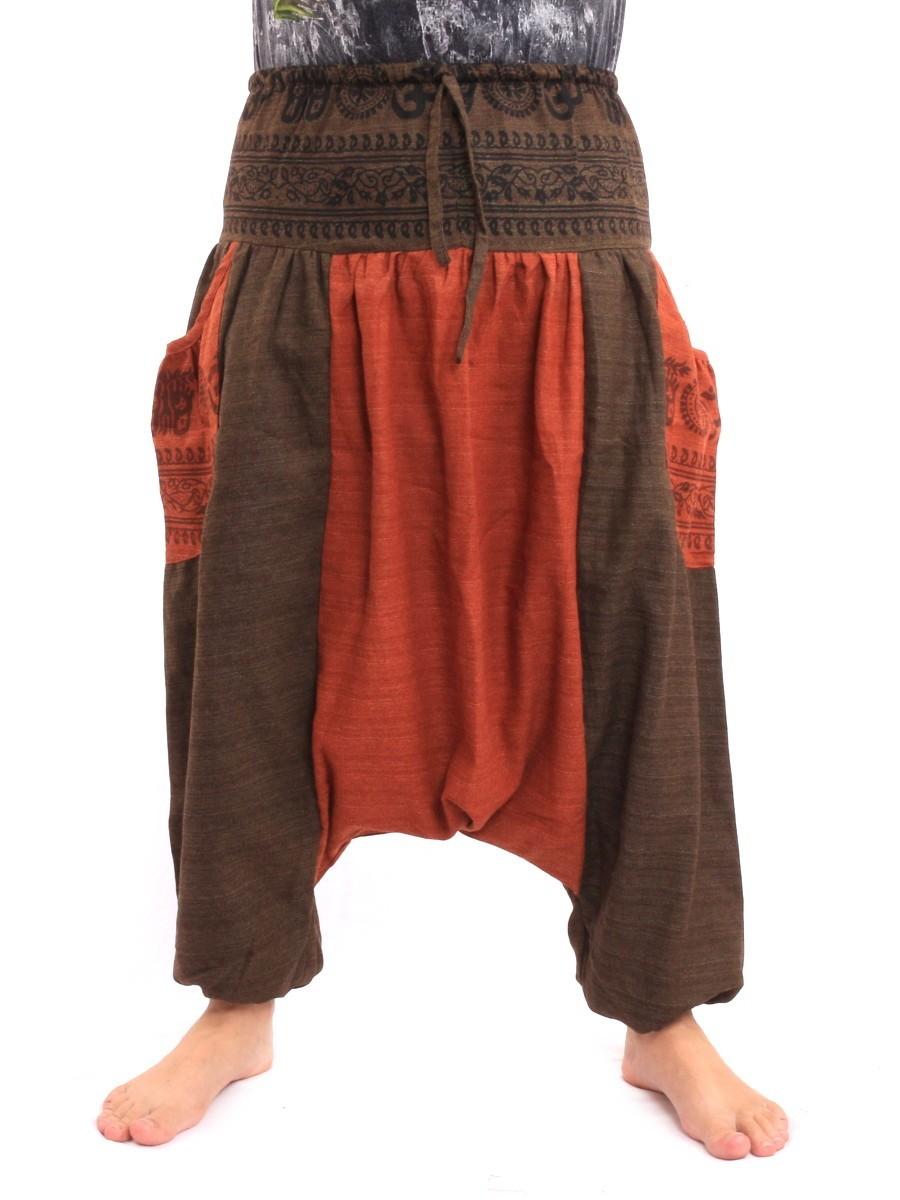 Harem Genie Aladdin Pants With Ethnic Floral Print One Size Multi