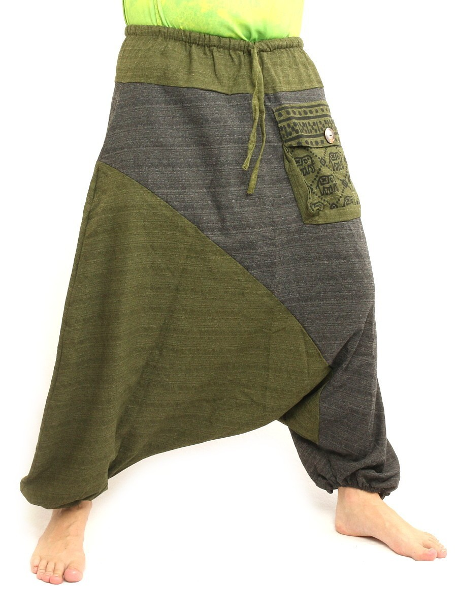 Baggy Harem Pants Two Tone Hippie Boho Chic Cotton Olive Green Black