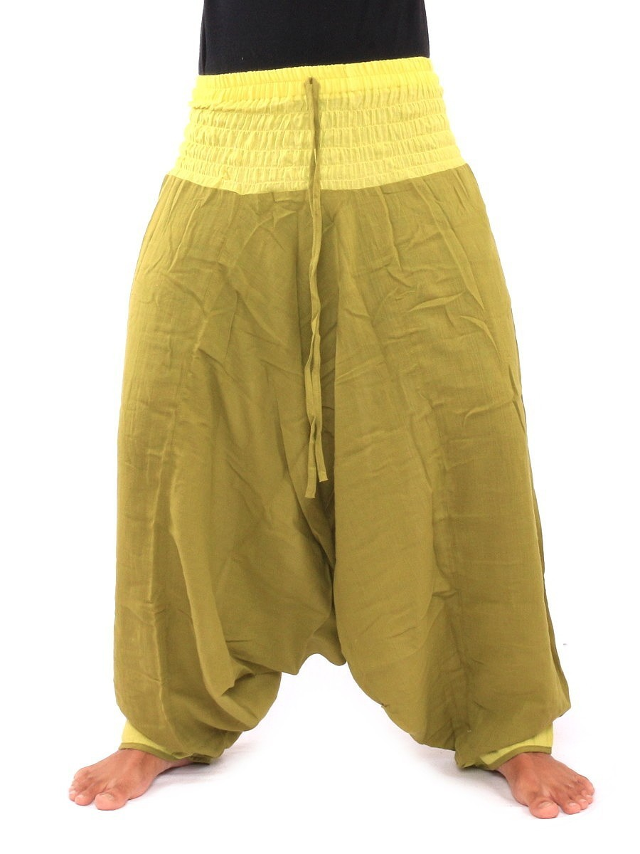 Two Tone Low Cut Harem Aladdin Pants With Elasticated Waist One Size Green