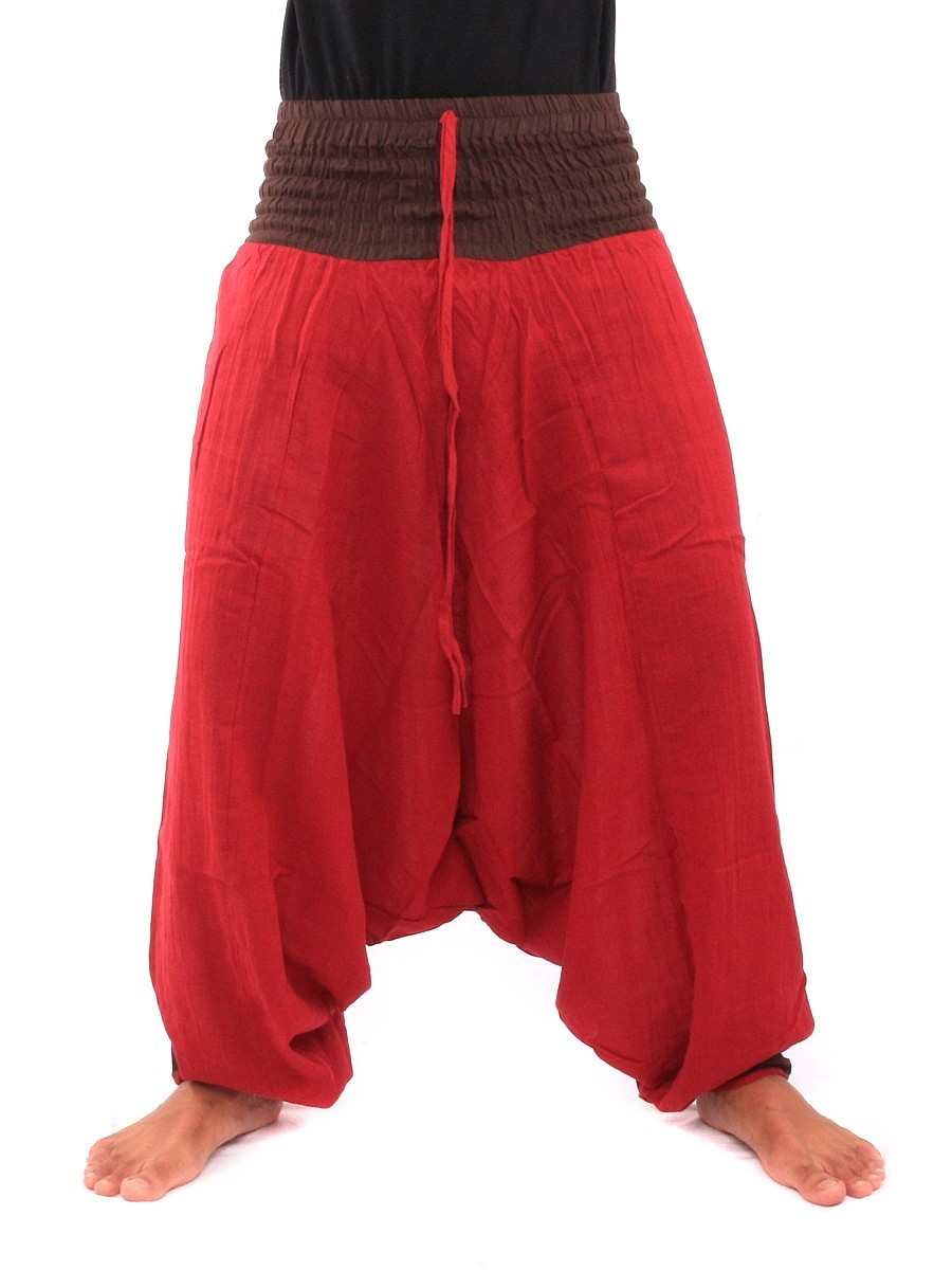 Two Tone Low Cut Harem Aladdin Pants With Elasticated Waist One Size Red