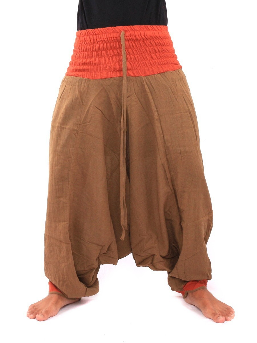 Two Tone Low Cut Harem Aladdin Pants With Elasticated Waist One Size Brown