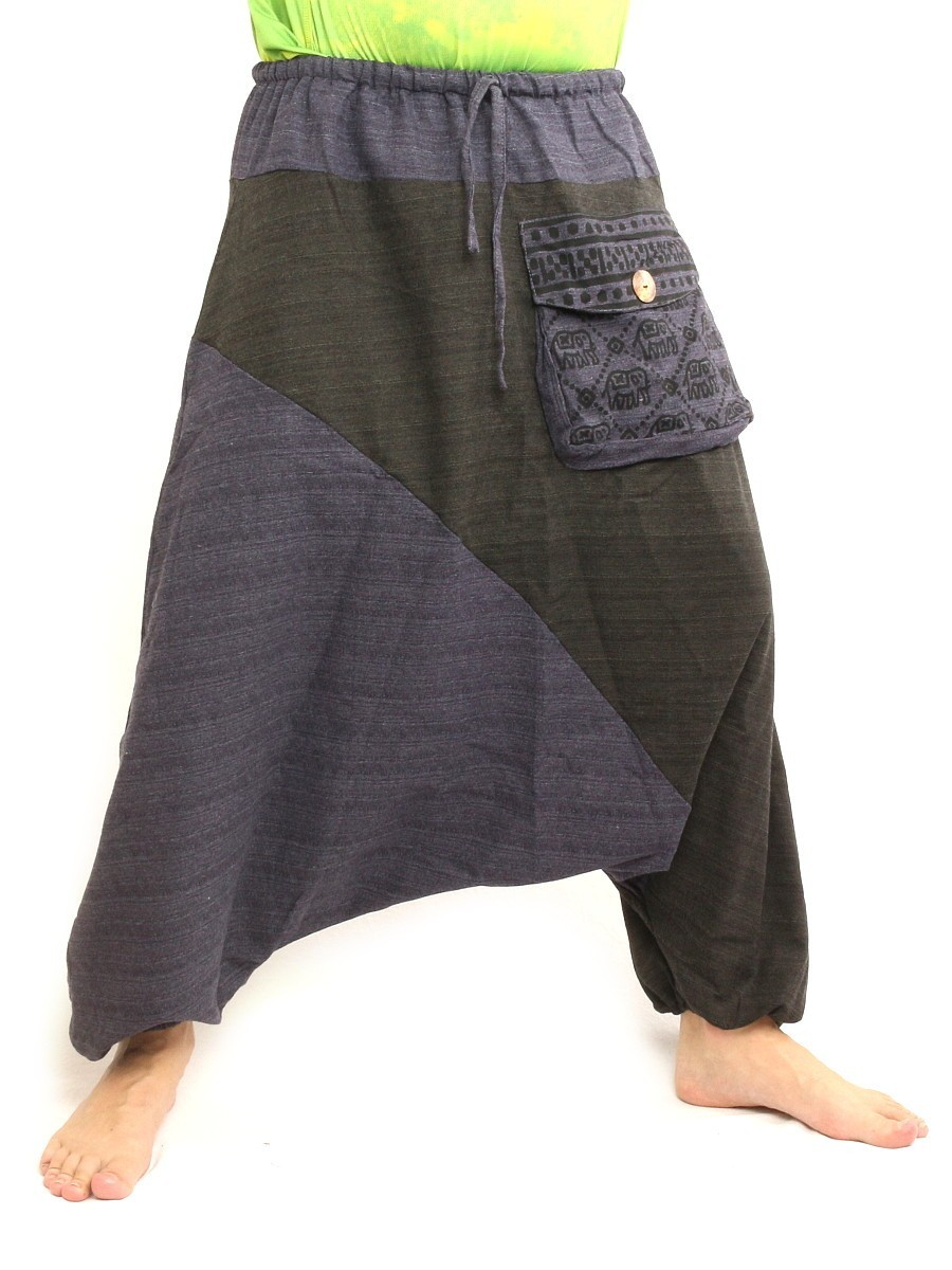 Baggy Harem Pants Two Tone Hippie Boho Chic Cotton Blue Black