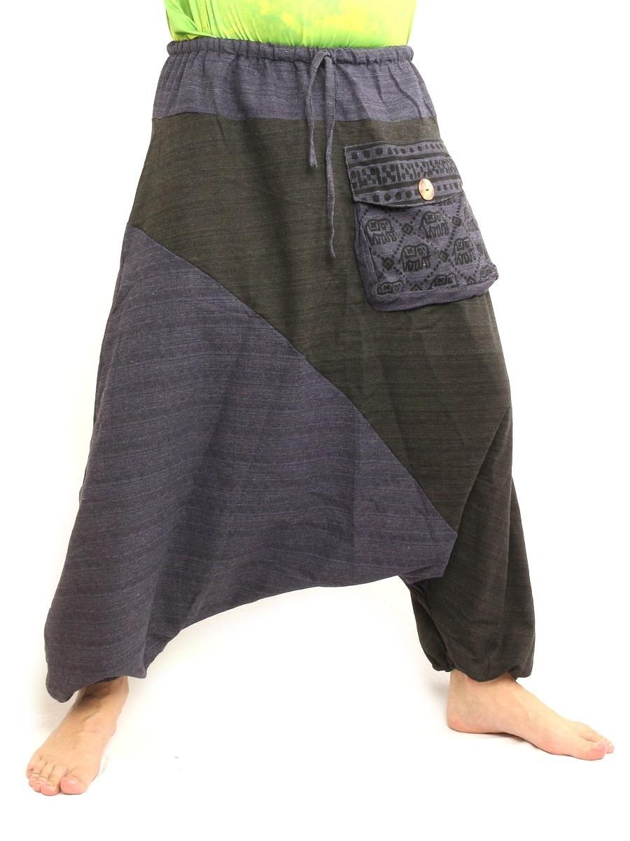 Baggy Harem Pants Two Tone Hippie Boho Chic Cotton Blue Black