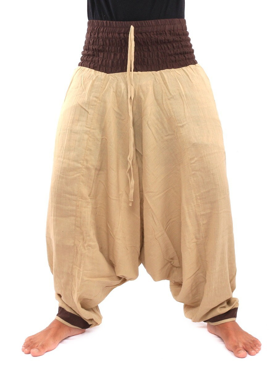 Two Tone Low Cut Harem Aladdin Pants With Elasticated Waist One Size Cream