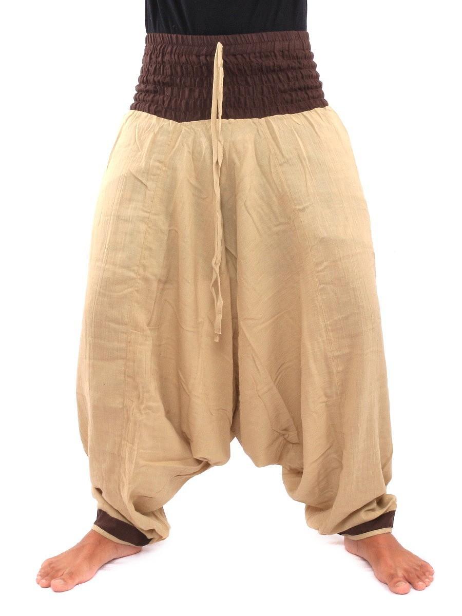 Two Tone Low Cut Harem Aladdin Pants With Elasticated Waist One Size Cream