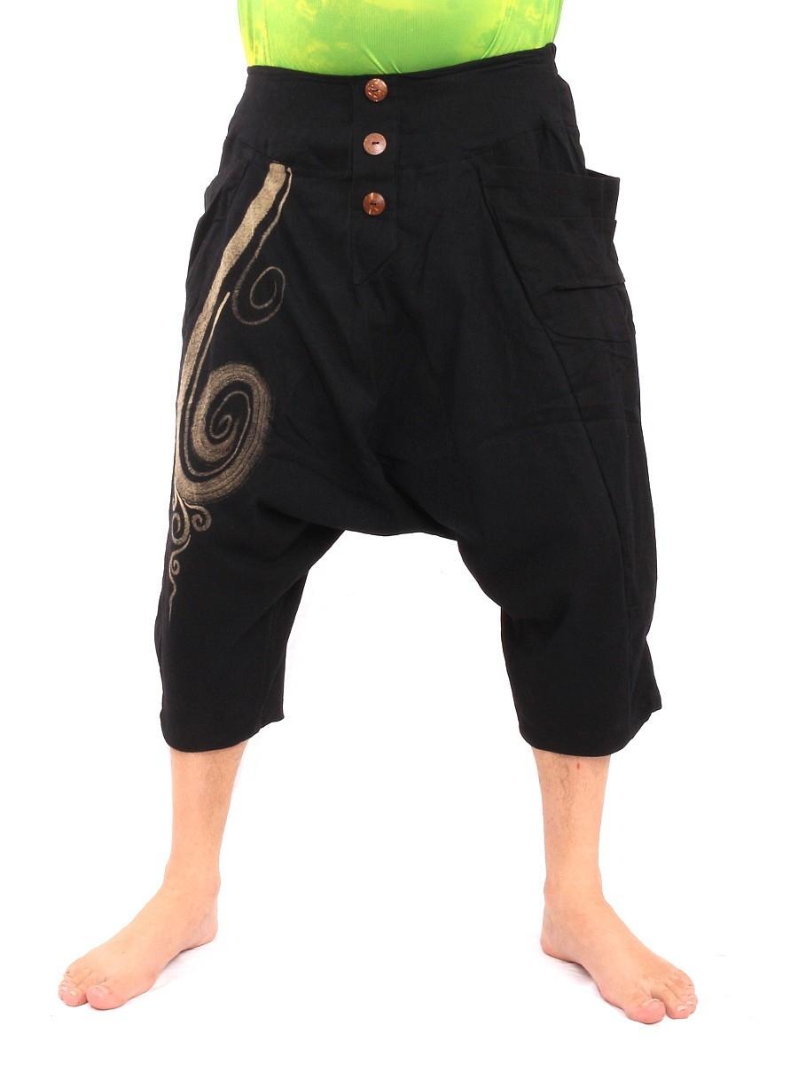 Short Baggy Harem Pants With Floral Spiral Print One Size Black