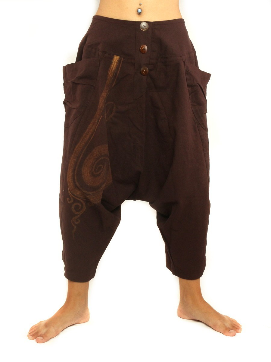 Short Baggy Harem Pants With Floral Spiral Print One Size Brown