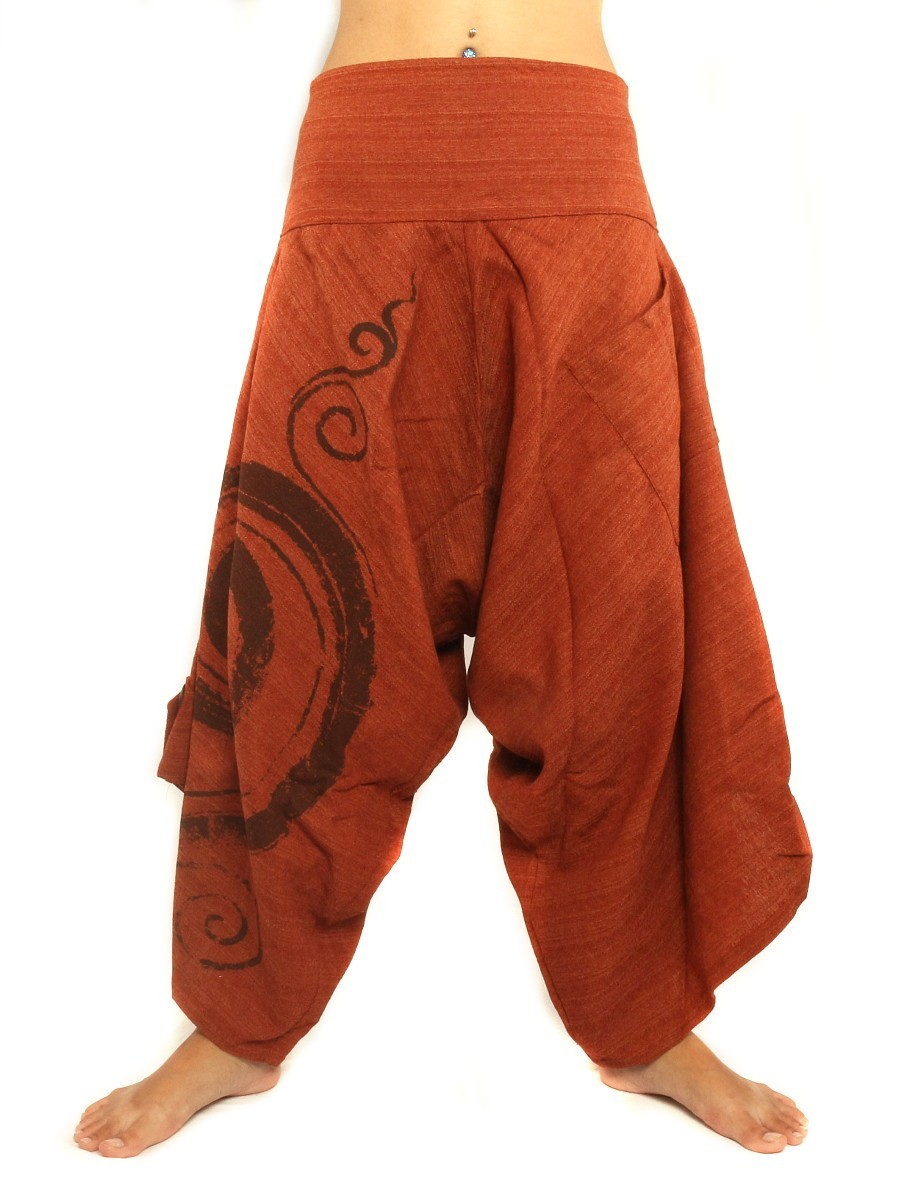 Harem Pants With Elasticated High Waist / Spiral Floral Design One Size Orange