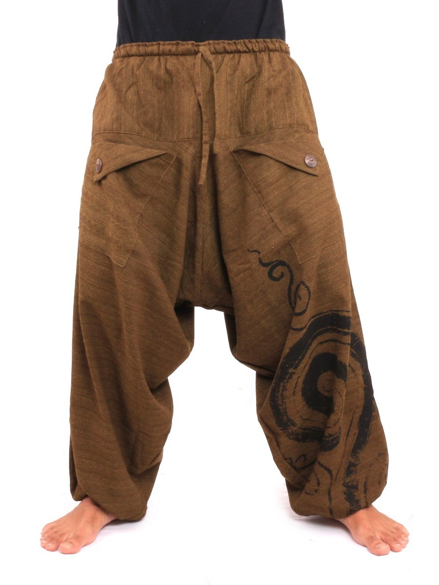 Harem Saruel Pants With Spiral Print  One Size Brown