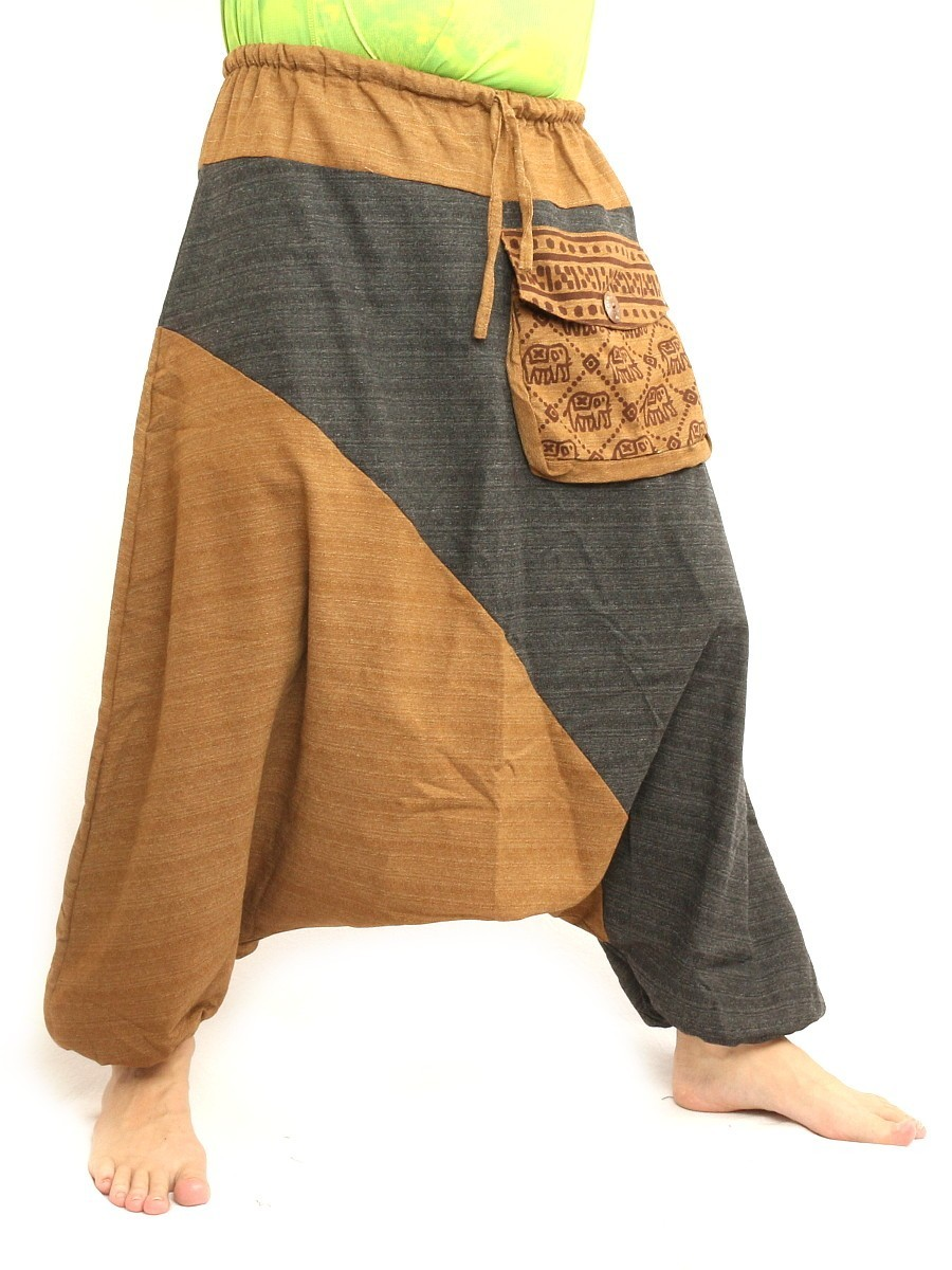 Baggy Harem Pants Two Tone Hippie Boho Chic Cotton Light Brown Black