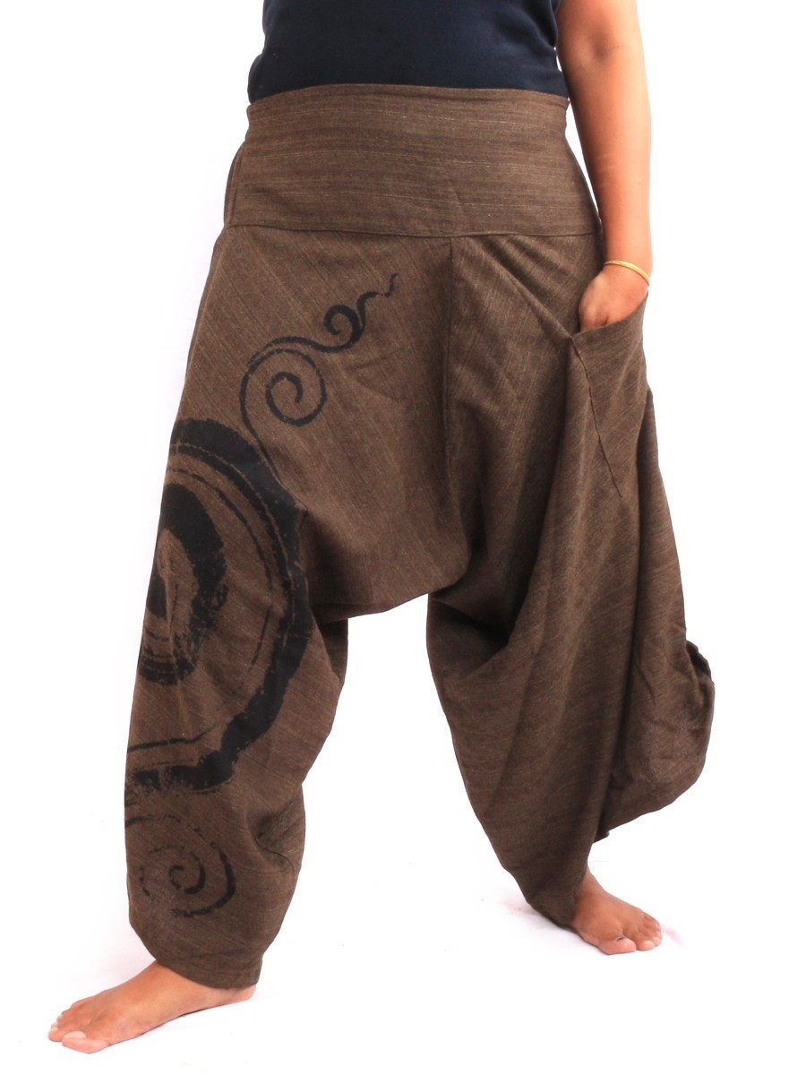 Harem Pants With Elasticated High Waist / Spiral Floral Design One Size Brown