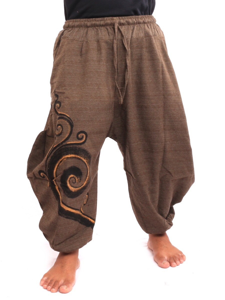 7/8 Harem Pants Spiral Print One Size Brown