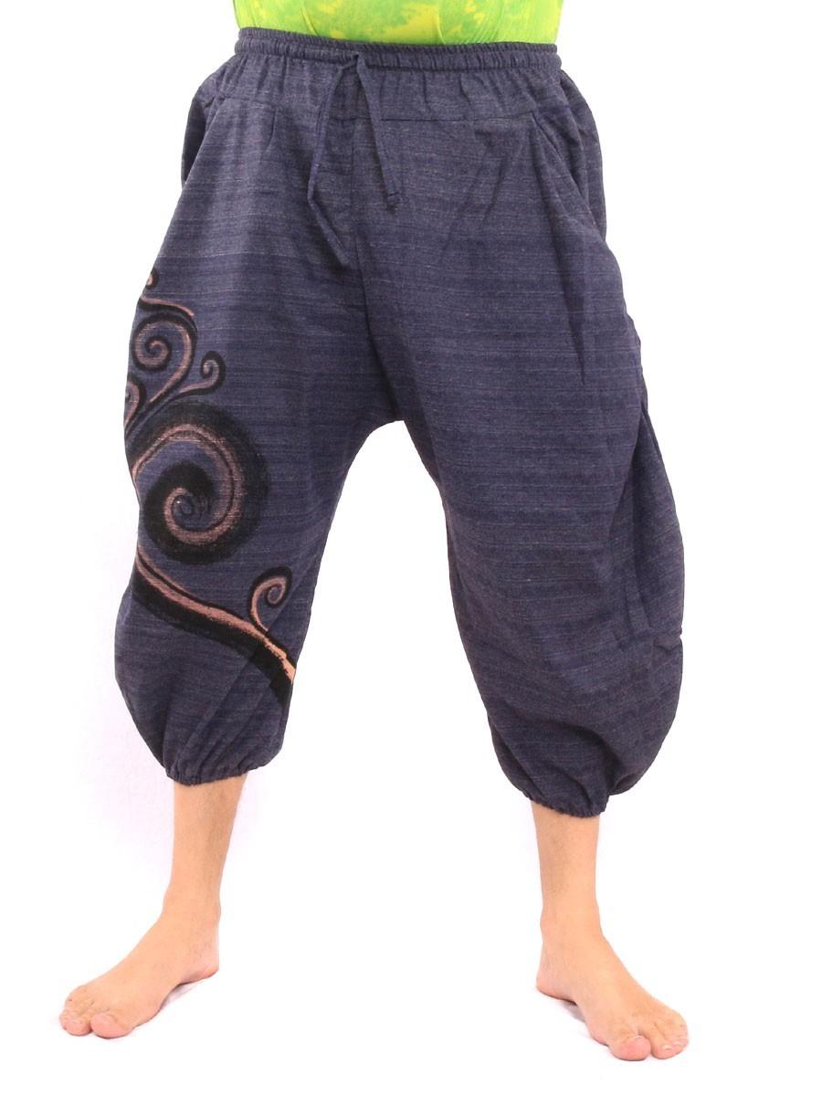 7/8 Harem Pants Spiral Print One Size Blue