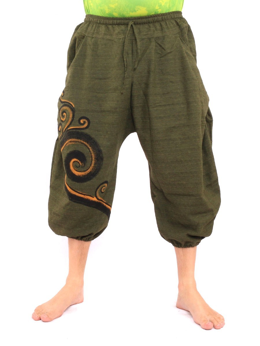 7/8 Harem Pants Spiral Print One Size Green