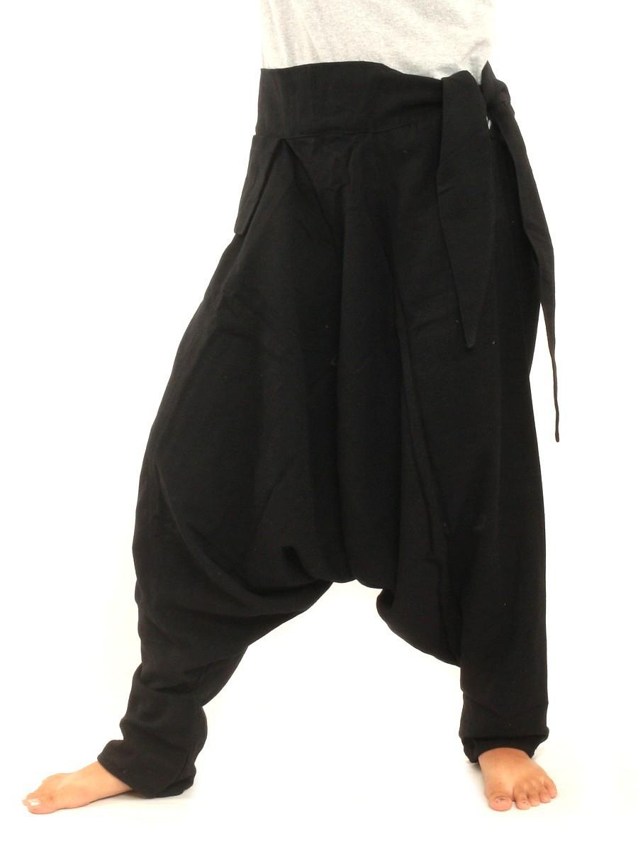 Low Cut Aladdin Harem Pants With Side Pocket One Size Black