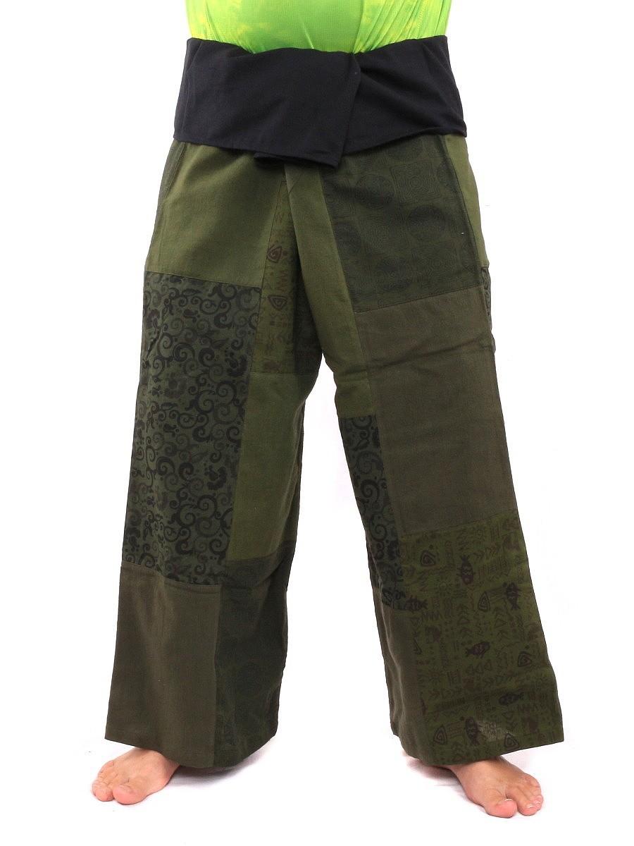Thai Fisherman Pants Patchwork L Green