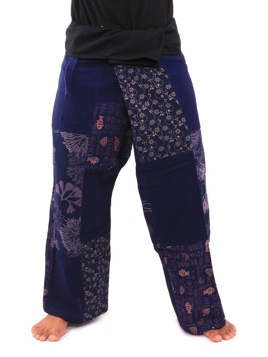 Thai Fisherman Pants Patchwork M Blue