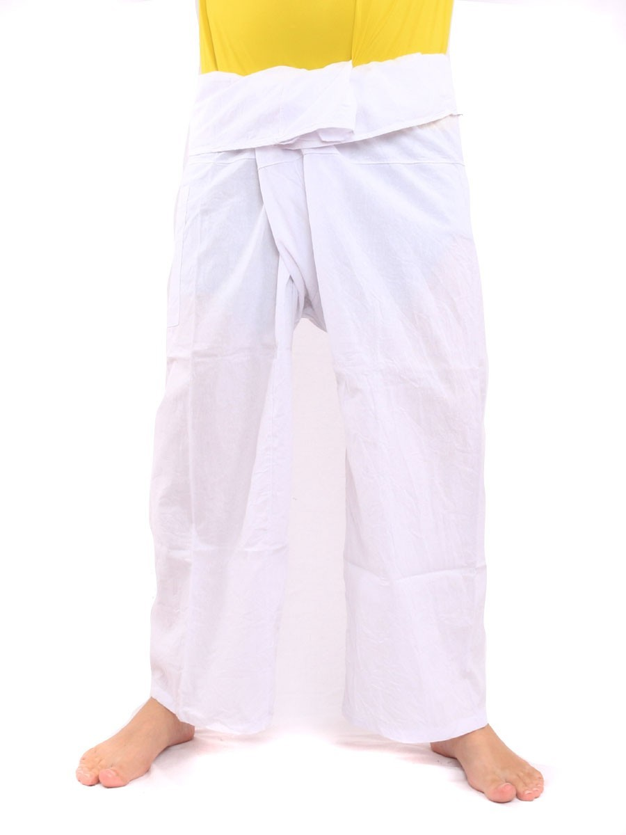 Thai Fisherman Pants Single With One Side Pocket L White