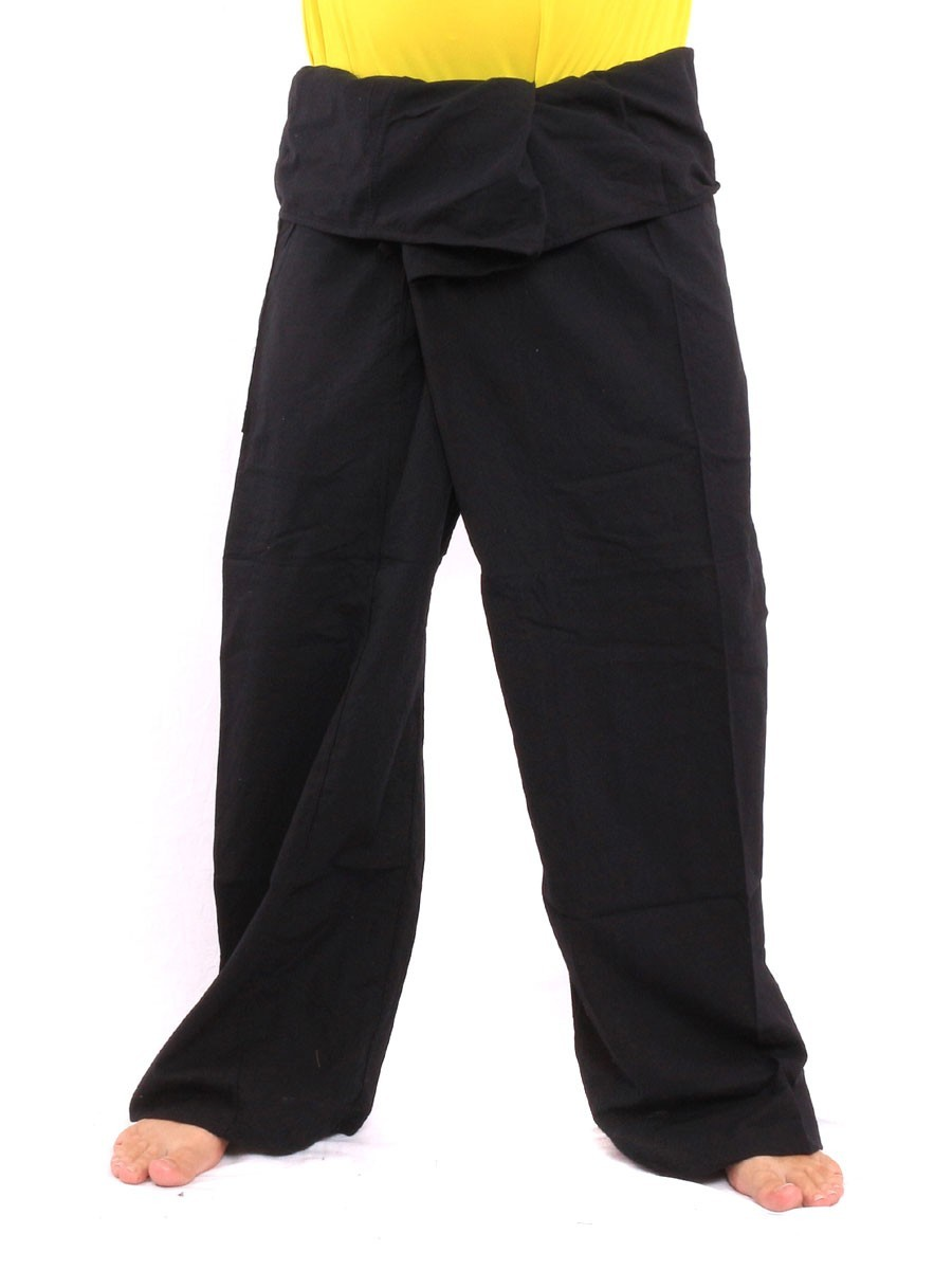 Thai Fisherman Pants Single Color With One Side Pocket X-Long Black