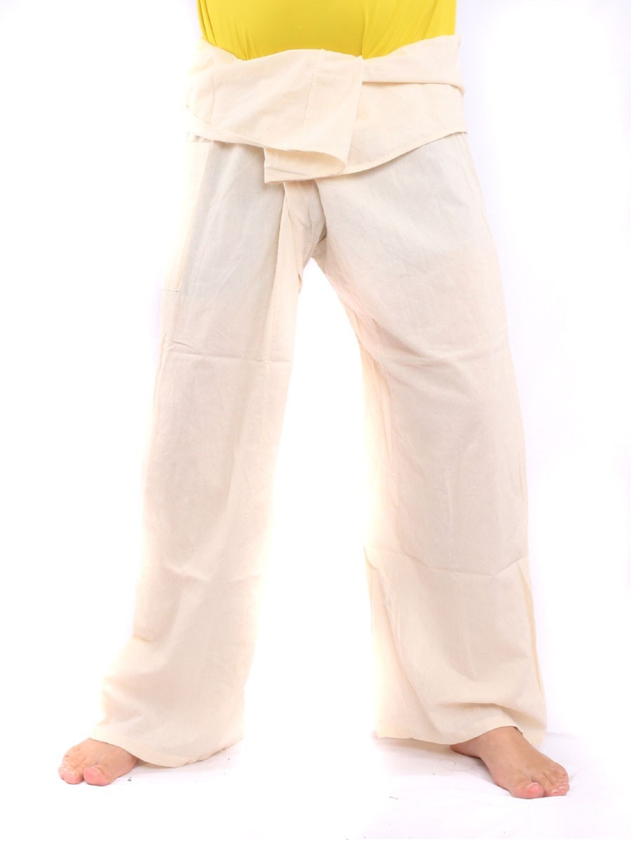 Thai Fisherman Pants Single Color With One Side Pocket X-Long Cream