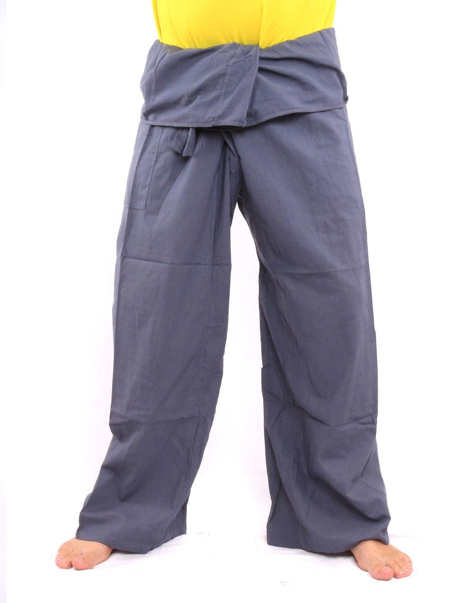 Thai Fisherman Pants Single Color With One Side Pocket X-Long Grey