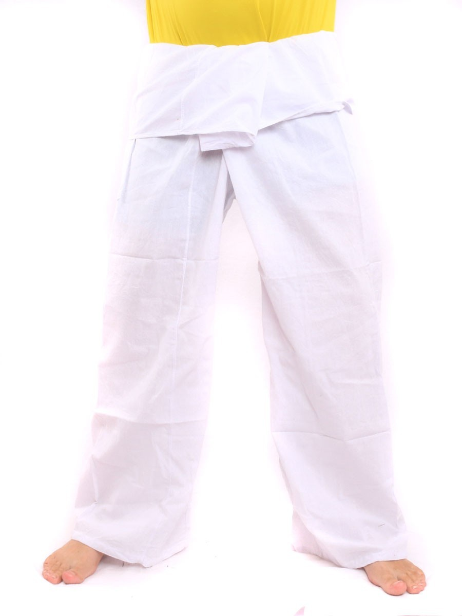 Thai Fisherman Pants Single Color With One Side Pocket X-Long White