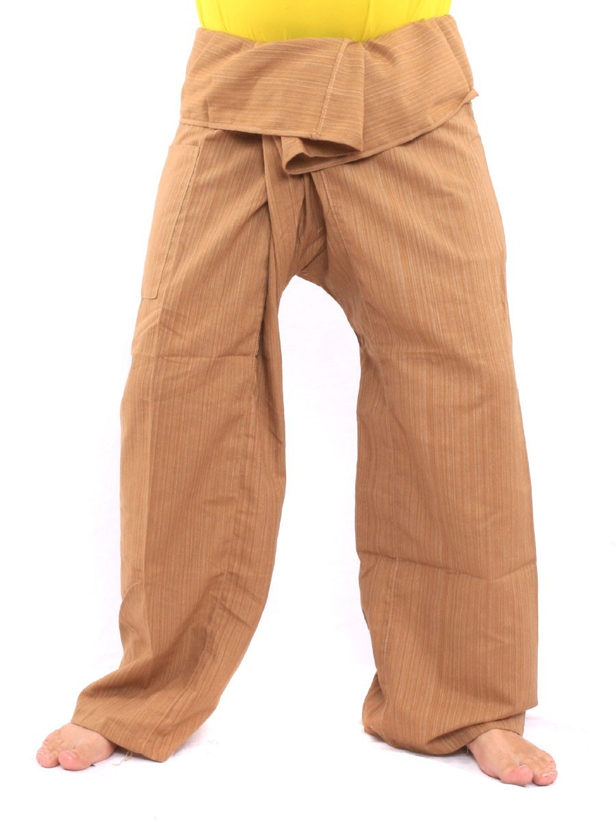 Thai Fisherman Pants Single Color Size With One Side Pocket X-Long Brown