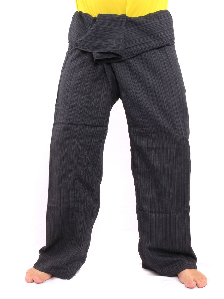 Thai Fisherman Pants Single Color Size With One Side Pocket X-Long Black